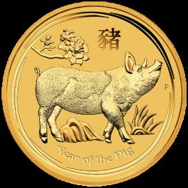"""Златна монета """"Годината на Прасето, 2019"""", лице"""