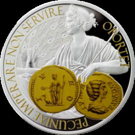 """Сребърна монета """"Монета, Богинята на парите и закрилата"""", лице"""