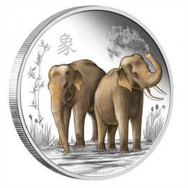"""Сребърна монета """"Щастие, сила и късмет, Слончета"""" лице"""