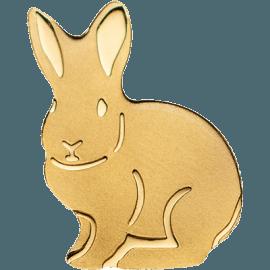 """Златна монета """"Златно късметлийско зайче"""" лице"""