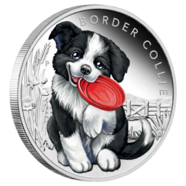 "Silver coin ""Puppies - Border Collie"", face"