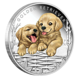 "Silver coin ""Puppies - Golden Retriever"", face"
