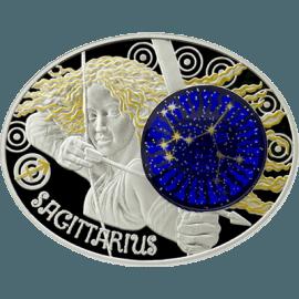 "Сребърна монета ""Зодиакални знаци – Стрелец"" лице"