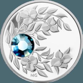 "Silver coin ""Birthstone Swarovski- March,Aquamarine""  37ab31c1e4d267d4e04424b3d04e1c9de535d01b0db895645ae849208489898c"