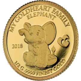 "Plush elephant ""Moya"", with a gold coin, face"
