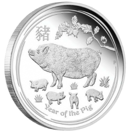 "Silver coin ""Year of the Pig"", face"