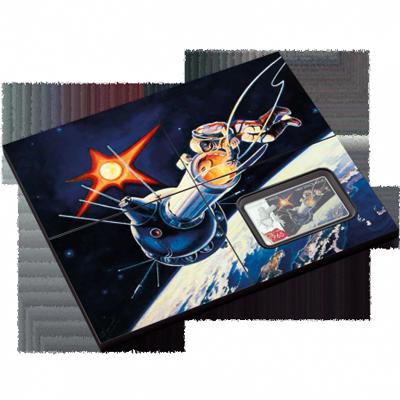"""Сребърна монета """"Първо излизане в космоса- Алексей Леонов""""  f5c634b6bedda4705cc8caa1207c67f02b9ca1690da5ea9fec02f66411bdcfc7"""