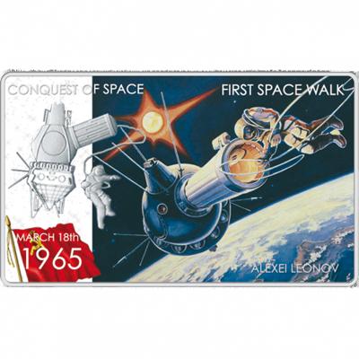 """Сребърна монета """"Първо излизане в космоса- Алексей Леонов""""  4d033e14678f600d9c90424ff723742878d634737fea20fe6f0c6921a0d557f0"""
