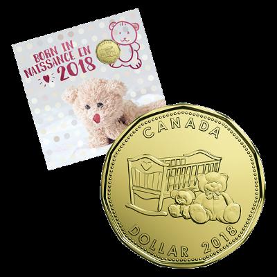 Подаръчен комплект за Бебе 2018, опаковка лице  и Mонета 1 долар, лице