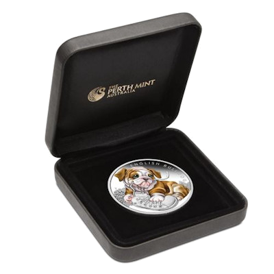 "Silver coin ""Puppies - English Bulldog"", box"