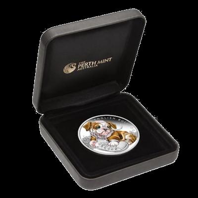 """Сребърна монета """"Кученца - Английски Булдог"""", кутия"""