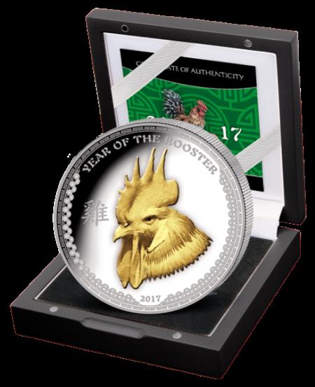 """Сребърна монета """"Годината на петела 2017"""" - 1 унция кутия"""