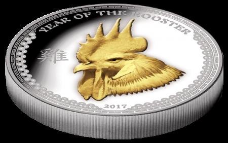 """Сребърна монета """"Годината на петела 2017"""" - 1 унция 3D"""