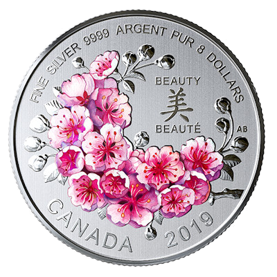 "Silver coin ""Cherry Blossoms"", face"
