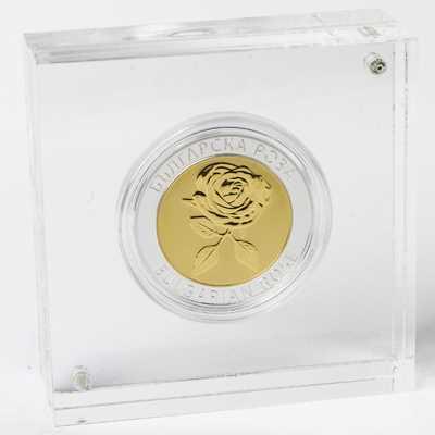 """Сребърен медал """"Българска роза"""", с частично златно покритие  92e682469069762cc7f166dbac74df69b6344d15d0cf32de1236b64a084b6e3e"""