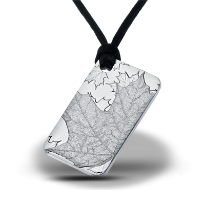 "Silver pendant bar ""Maple Leaf"" front"