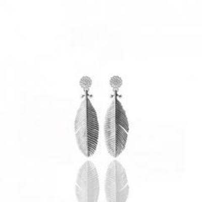 Large Snow Feather Earrings