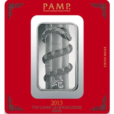"Silver bar ""Year of the Snake"" box"