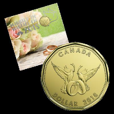 Подаръчен комплект за Сватба 2018, опаковка лице и монета 1 долара
