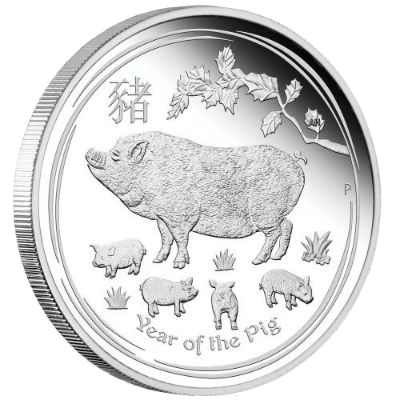 """Silver coin """"Year of the Pig"""", face"""