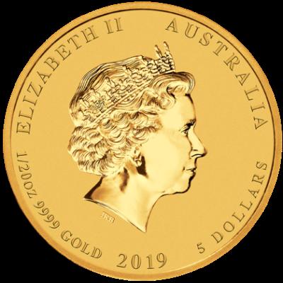 """Златна монета """"Годината на Прасето, 2019"""", гръб"""