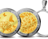 """Medallion """"Flower Wishes"""", gold and silver plated  a5af51ed7db84955a597cda848a754844fd7016a34f39e8b32c1004b0e4ccc5c"""