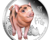 """Silver coin """"Tuvalu - Baby Pig"""", face"""