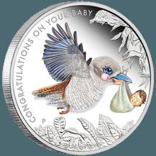 """Сребърна монета """"Новородени съкровища"""" лице"""