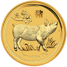"Gold coin ""Year of the Pig"", face"