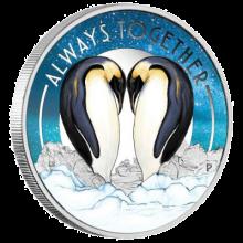 """Сребърна монета """"Винаги заедно, Пингвини"""", лице"""