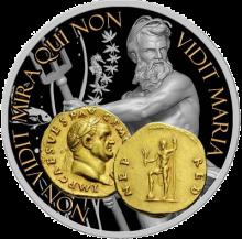 """Сребърна монета """"Нептун, Богът на океаните и водите"""", лице"""