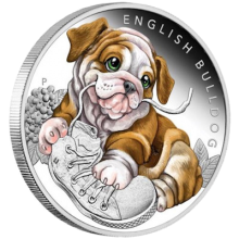 "Silver coin ""Puppies - English Bulldog"", face"