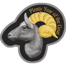 """Silver coin """"Plenty and tenderness, Year of the Goat 2015 """"  666f5e492338bd15077b651c86385a687bade29e915efcbc635f4bba261729a9"""
