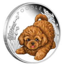 "Silver coin ""Puppies - Poodle"", face"