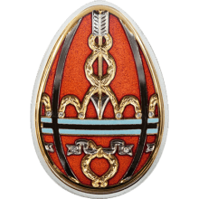 """Silver coin """"Red Easter Egg, Faberge style""""  7a3650689c4c5d03ab3a97dc352f8c53250c9c998036d2321dabad545cdeb296"""