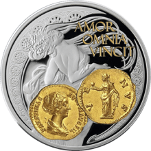 """Silver coin """"Venus - Goddess of love"""", gold plated  2ba1024ee7c407af8e4f60c44de1bbd032ba52bf9177b5fe607abcc86638cbbd"""