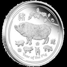 """Сребърна монета """"Годината на Прасето, 2019"""", лице"""